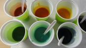 Seifenleim in sieben Teile aufteilen und einfärben