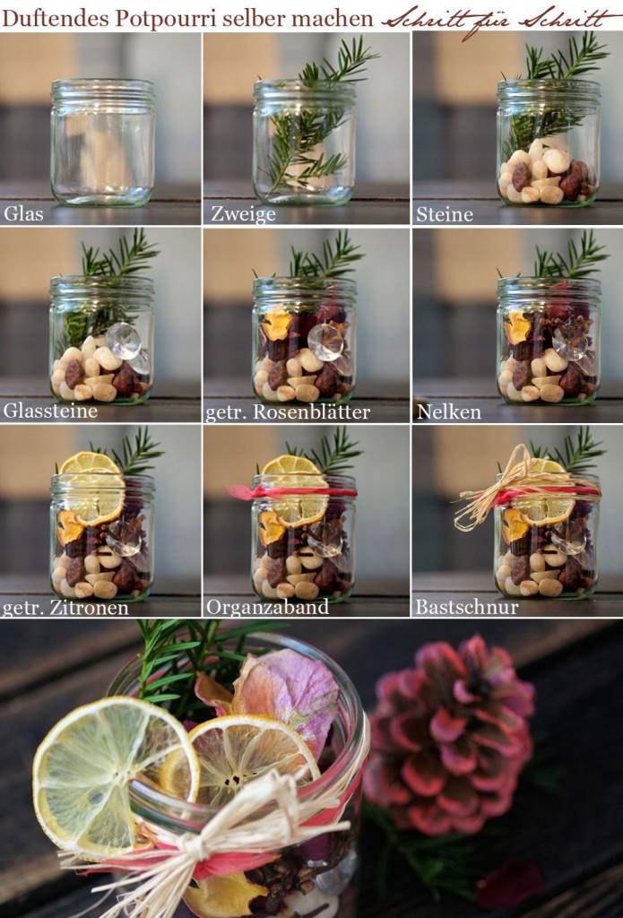 Einfach die ausgesuchten Bestandteile mit Düften versehen und nach und nach in das Glas legen.