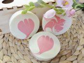 Runde Seife mit Swirl oder Blume
